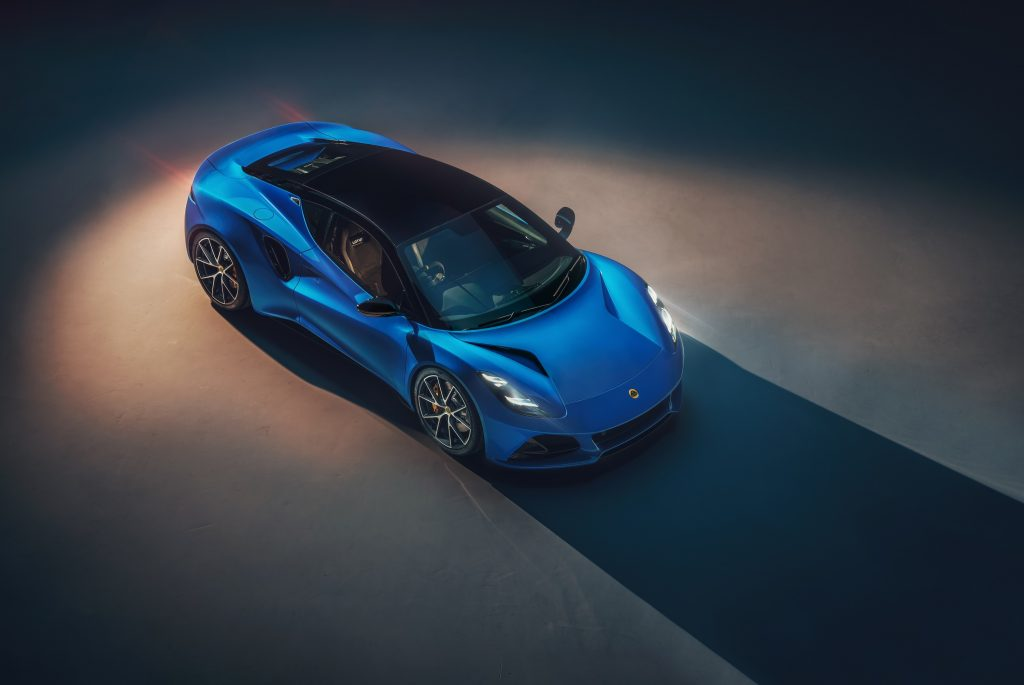 The new Lotus Emira, seen in blue during a photoshoot