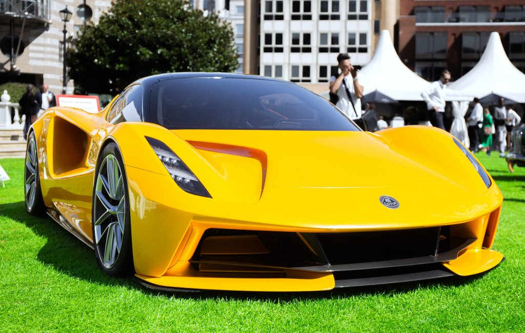 A bright-yellow Lotus Evija at London Concours in August 2020