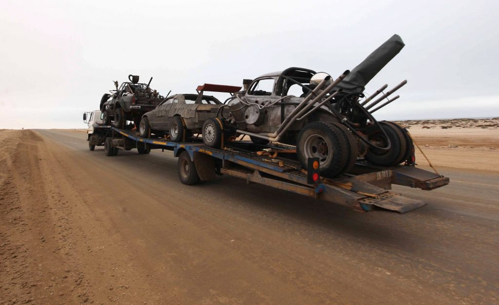 'Mad Max: Fury Road' cars are transported to the dunes outside Swakopmund, Namibia, in 2012