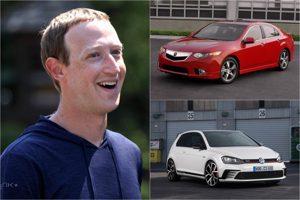 Mark Zuckerberg with an Acura TSX and Volkswagen Golf GTI