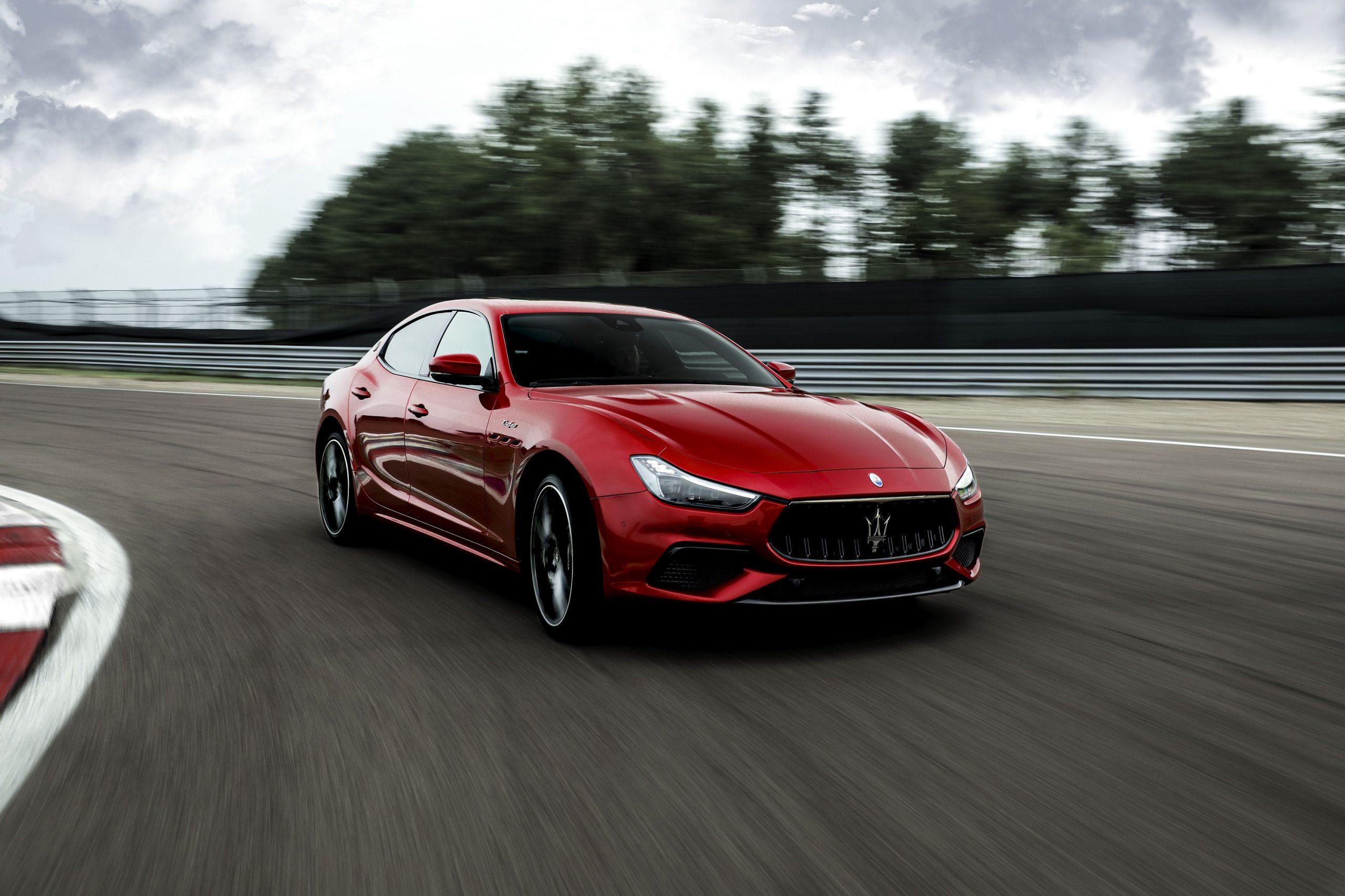 A red 2021 Maserati Ghibli Trofeo