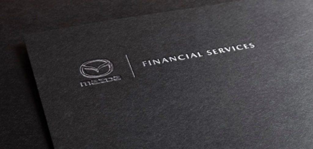 A Mazda Financial Services plaque