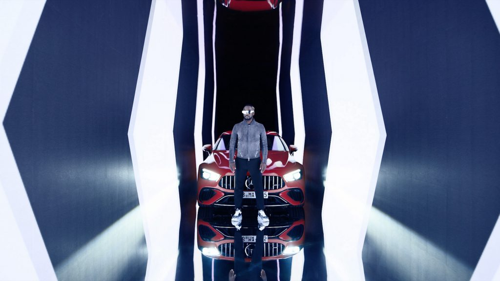 Rapper will.i.am stands in front of the new Mercedes-AMG GT 63 S E Performance