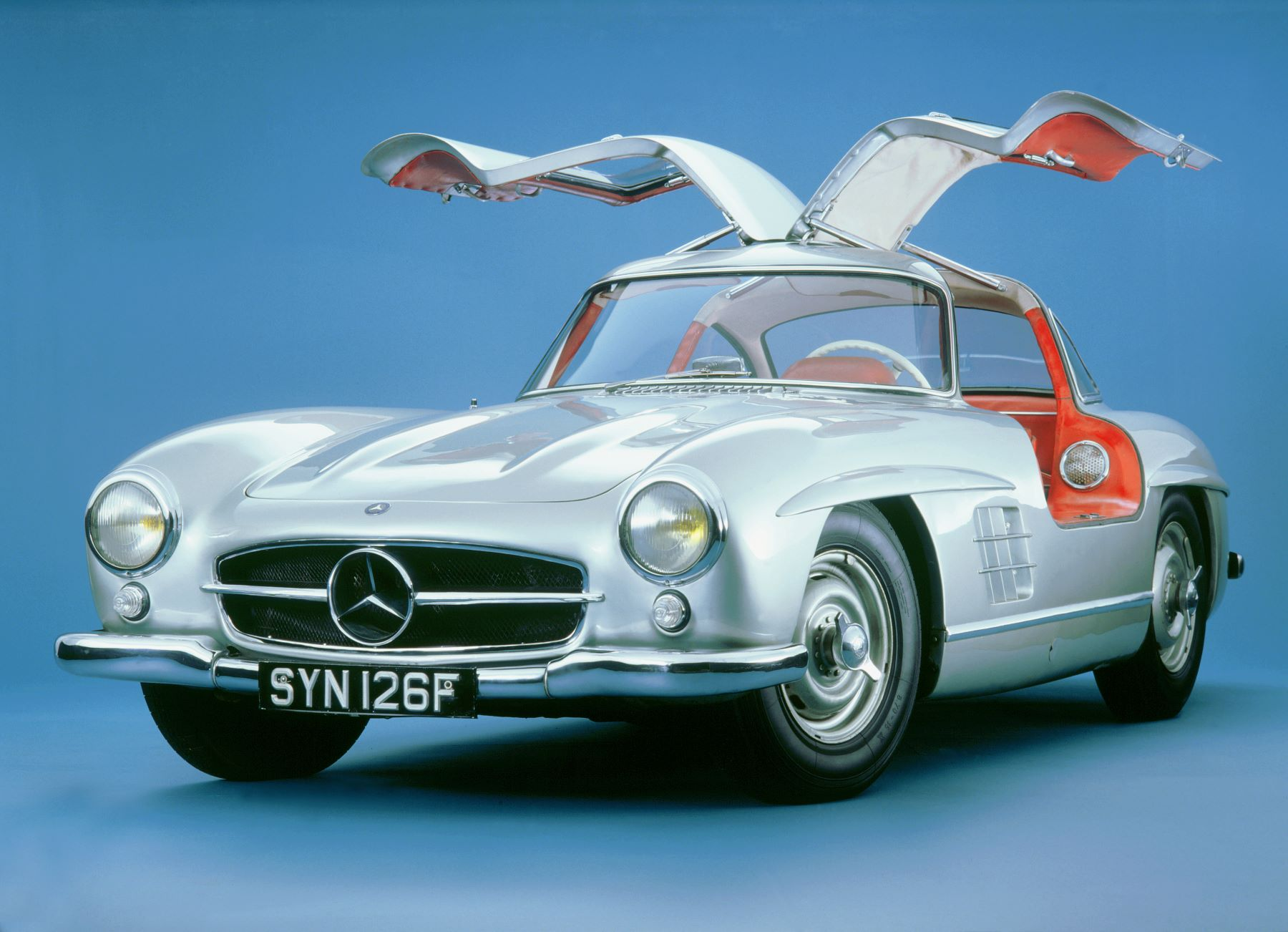 A 1957 Mercedes-Benz 300SL model with gull-wing doors