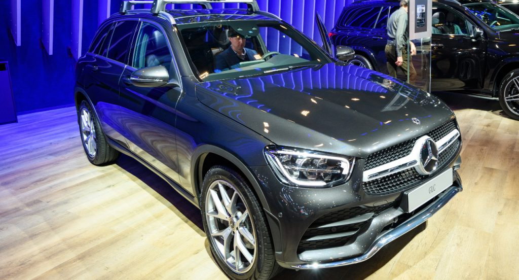 Mercedes-Benz GLC Class luxury crossover SUV car on display at Brussels Expo on January 9, 2020 in Brussels, Belgium. The new GLC-class can be equipped with rear wheel drive or the permanent all-wheel drive system 4MATIC.