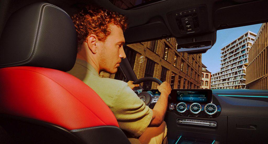 The interior of a 2021 Mercedes-Benz GLA 250 luxury SUV.