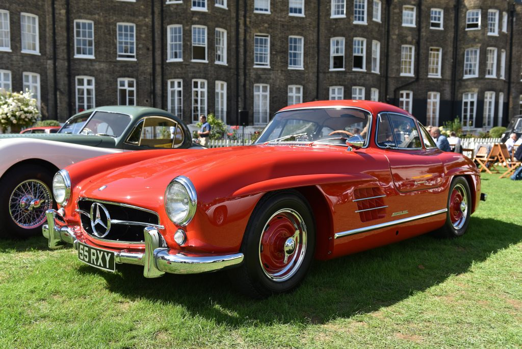 A 1959 Mercedes-Benz 300Sl Gullwing is displayed during the London Concours at Honourable Artillery Company