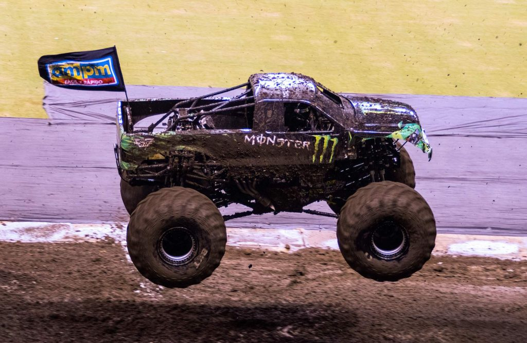 A monster truck performs at Monster Jam in San Jose, Costa Rica, on December 14, 2018