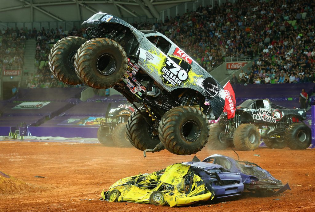 During Monster Jam in Melbourne, Australia, in October 2014, Marc McDonald jumps the monster truck Big Bash League over cars