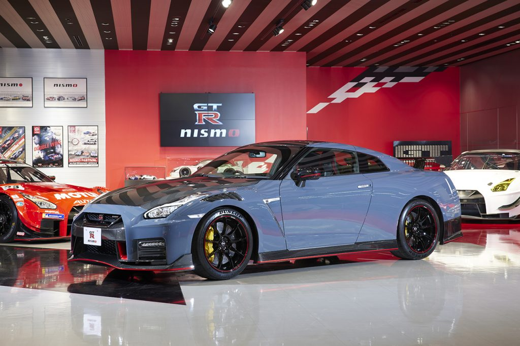 A Nissan GT-R NISMO in a showroom.