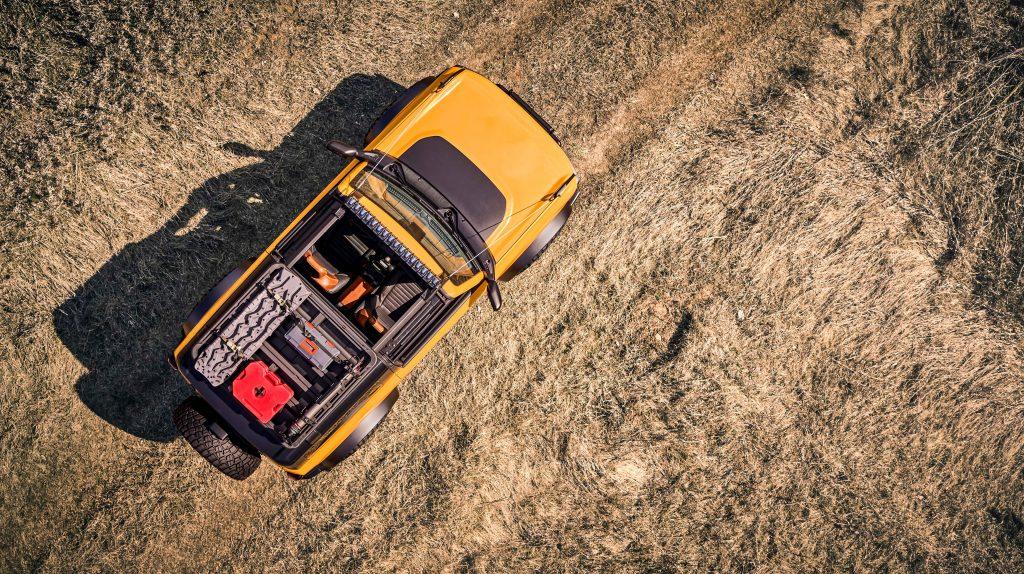 Overhead view of orange 2021 Ford Bronco