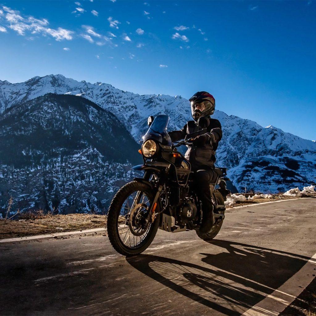 The 2021 Royal Enfield Himalaya cruising through the mountains