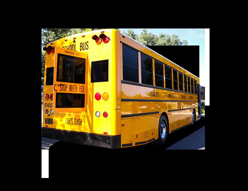 Rear door opened on the GreenPower BEAST school bus