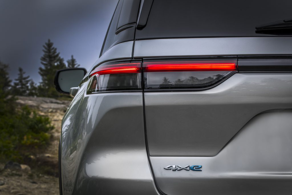 Rear view of white 2022 Jeep Grand Cherokee 4xe