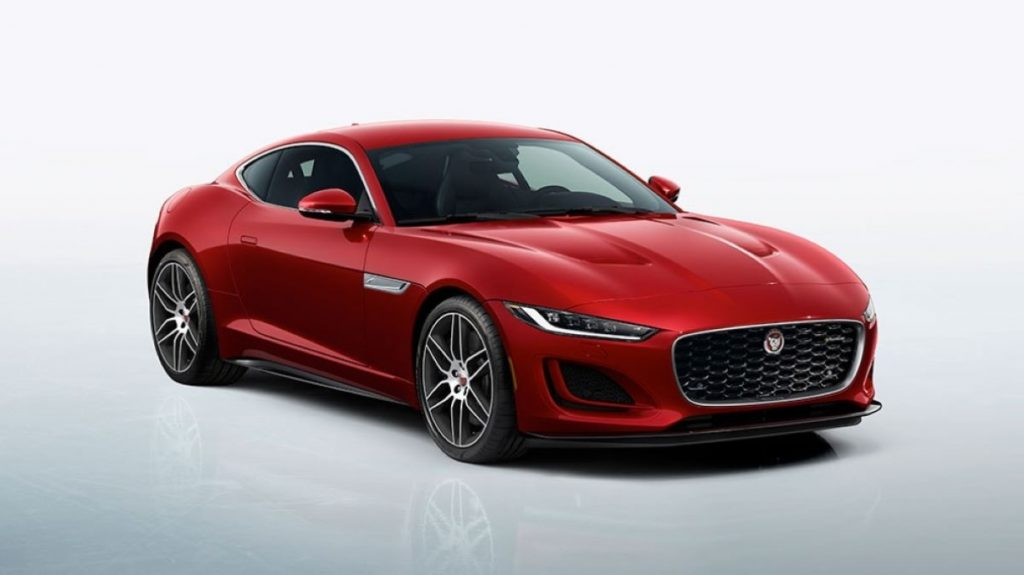 Passenger's side front view of red 2022 Jaguar F-TYPE R
