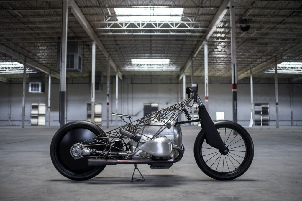 The side view of the Revival Cycles' Revival Birdcage in a warehouse
