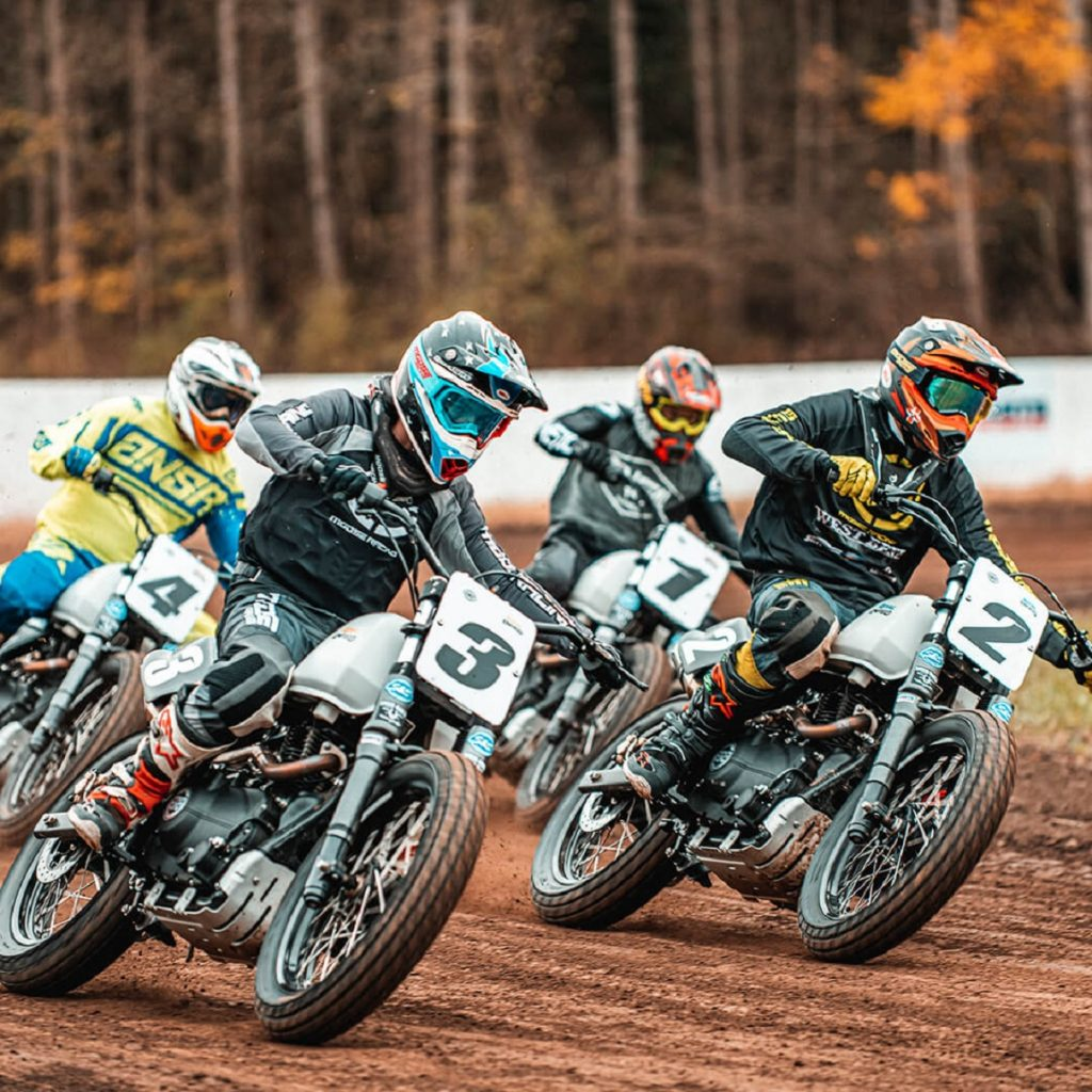 Riders in the Royal Enfield flat track racing Slide School on Himalayan FT411s