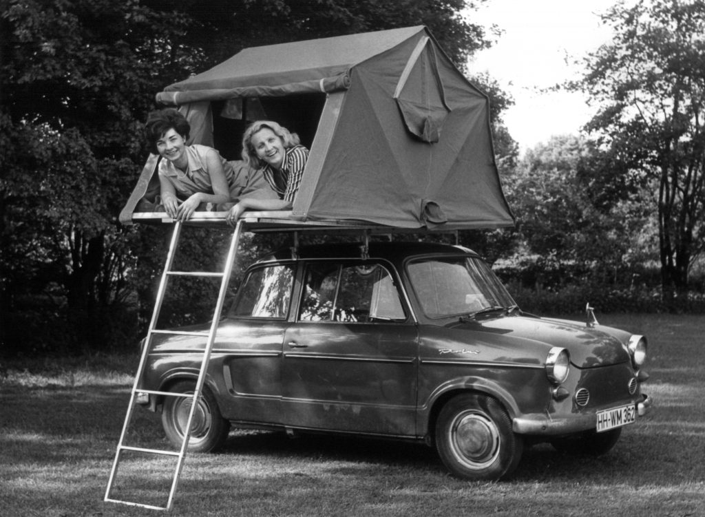 Camping on top of classic car
