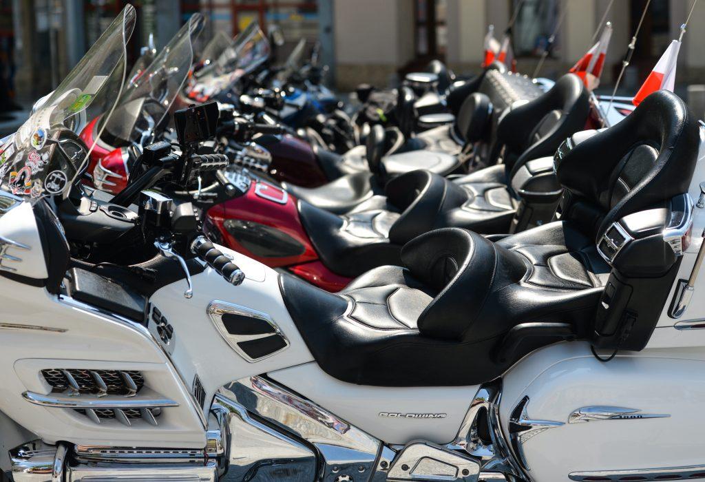A row of Honda Goldwing motorcycles.