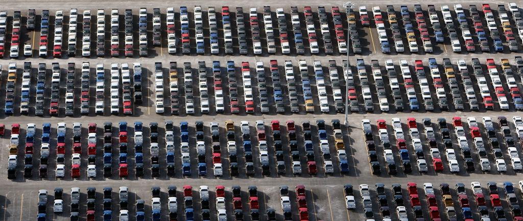 Sea of parked pickup trucks