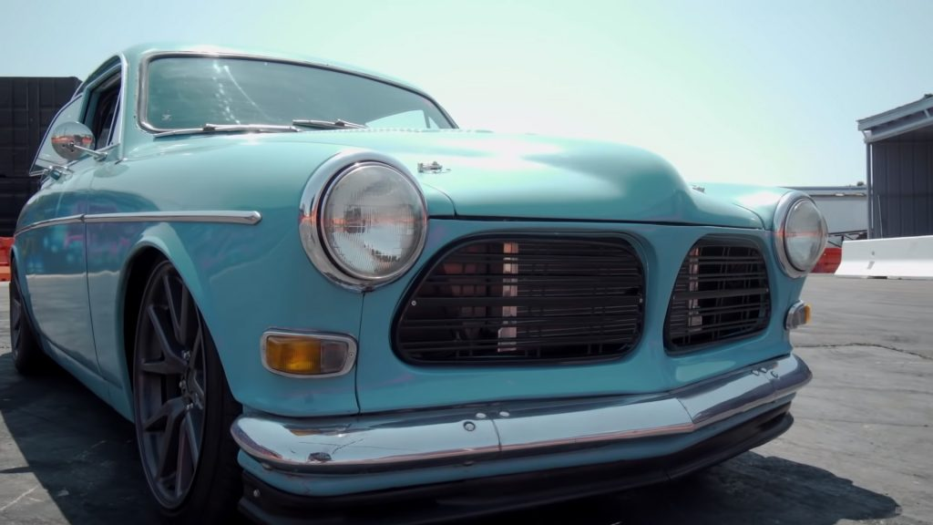1962 Volvo Amazon with a V8 swap under the hood.