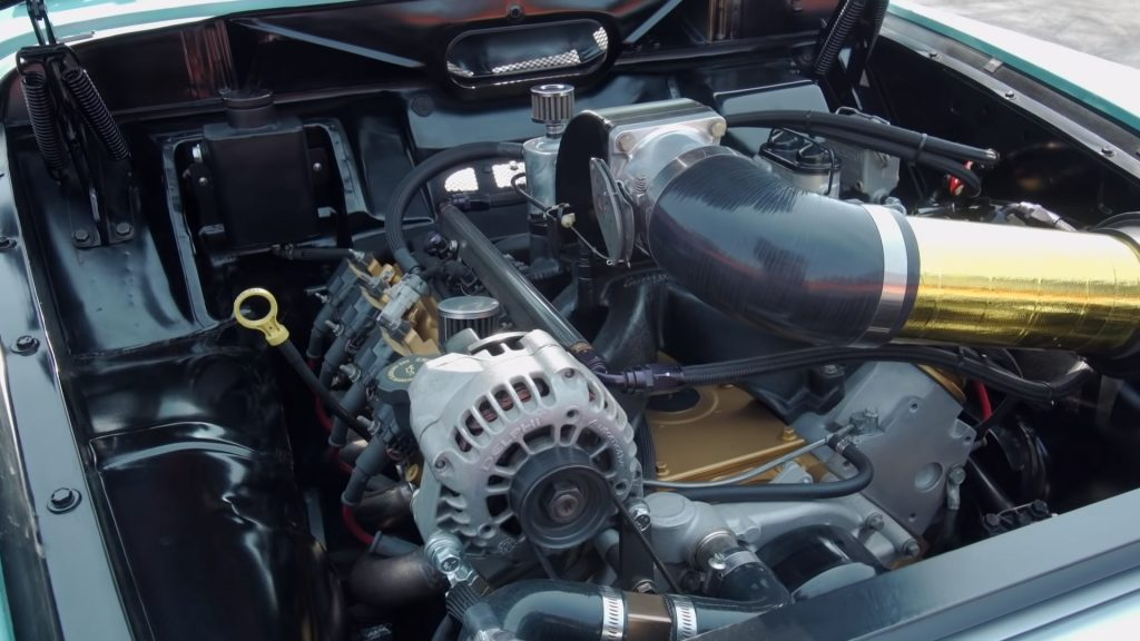 A Chevrolet V8 engine under the hood of a 1962 Volvo Amazon