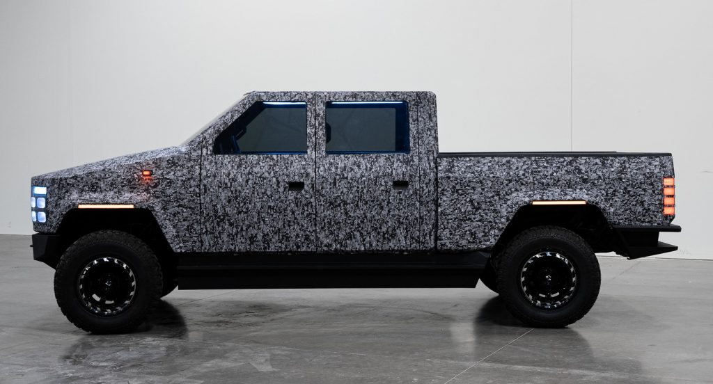 Side view of Atlis XT prototype electric pickup truck