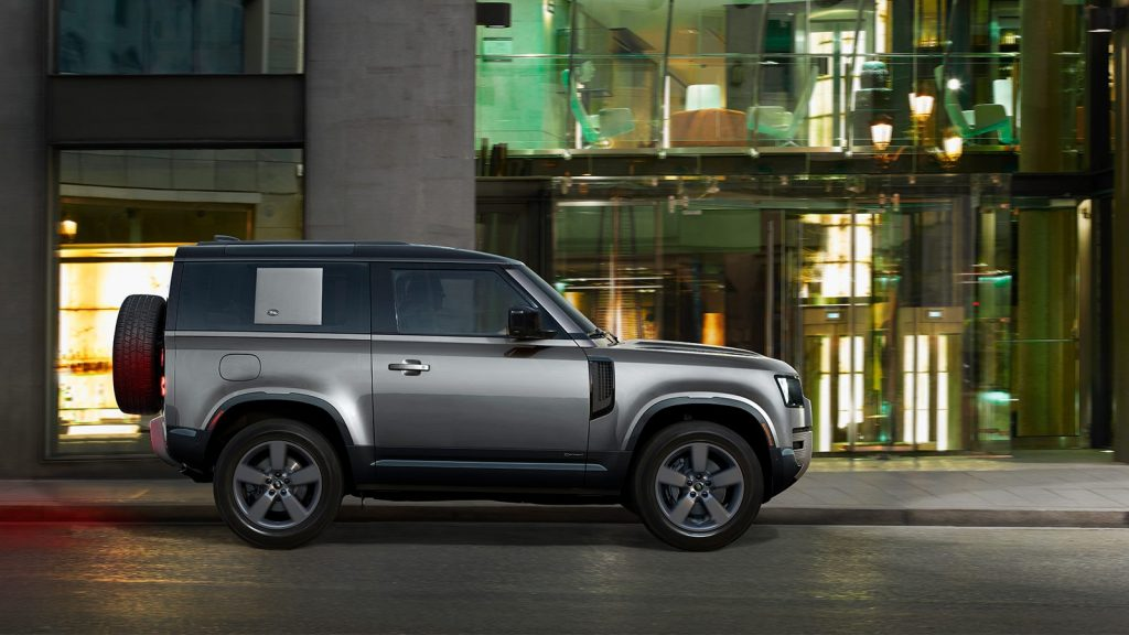 Side view of gray 2022 Land Rover Defender
