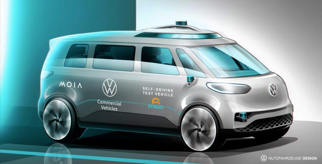 Side view of gray Volkswagen ID. BUZZ autonomous test vehicle