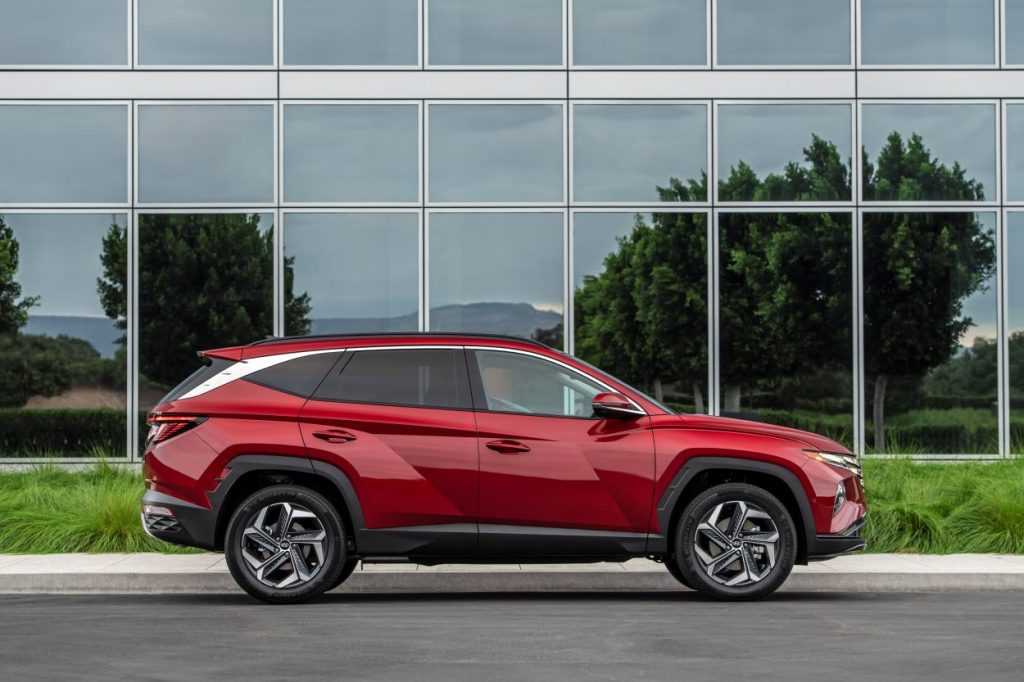 Side view of red 2022 Hyundai Tucson SEL