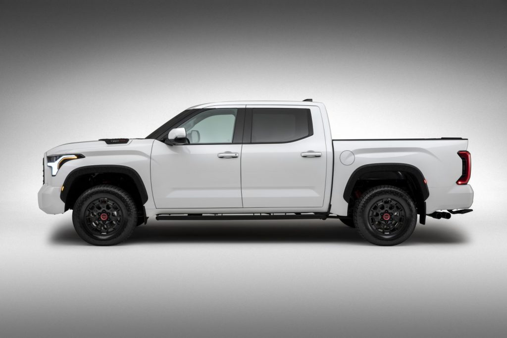 Side view of white 2022 Toyota Tundra