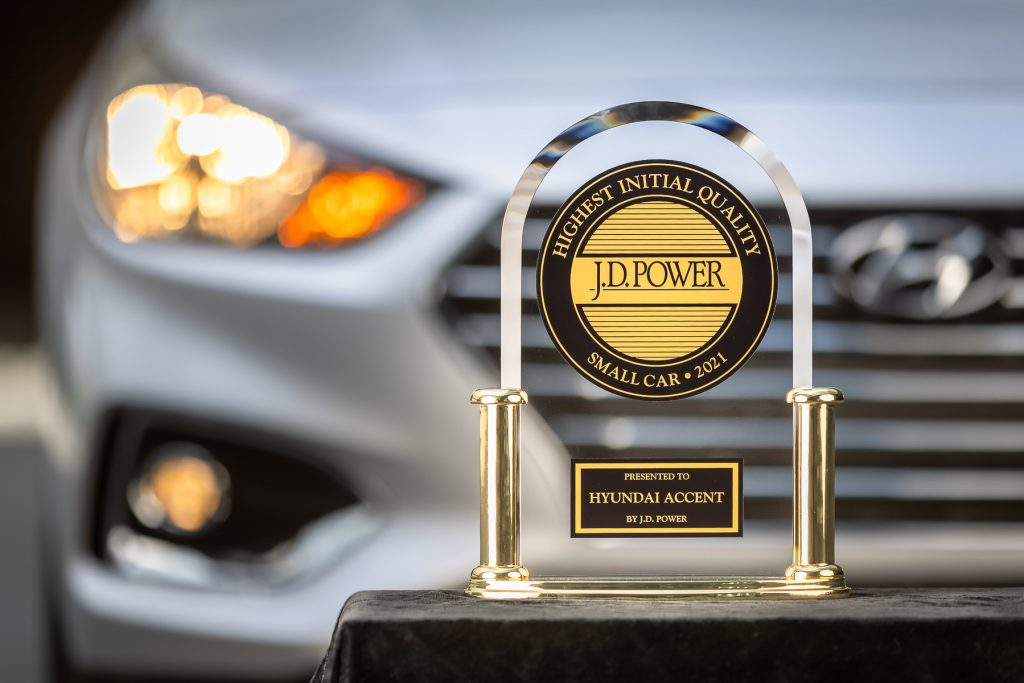 Silver 2021 Hyundai Accent and J.D. Power Initial Quality award