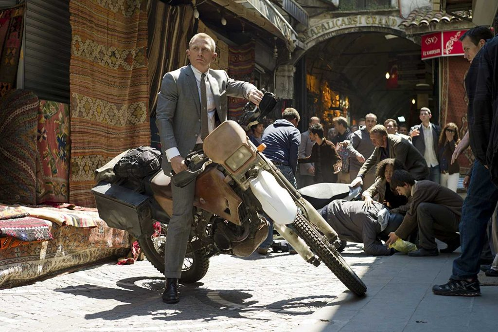 Daniel Craig's agent 007. The Skyfall James Bond motorcycle is a Honda CRF250R through Istanbul's Grand Bazaar during Skyfall. Bond's motorcycle skills impressed Moto GP champion Casey Stoner. | MGM/Eon Productions via James Bond 007 Youtube