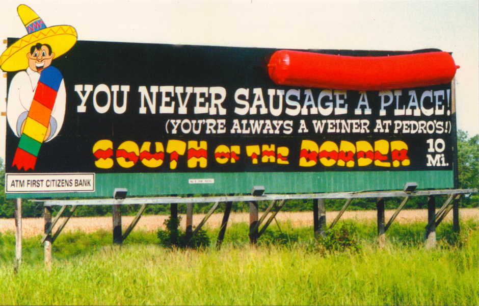 Billboard for South of the Border RV Park and Motor Hotel