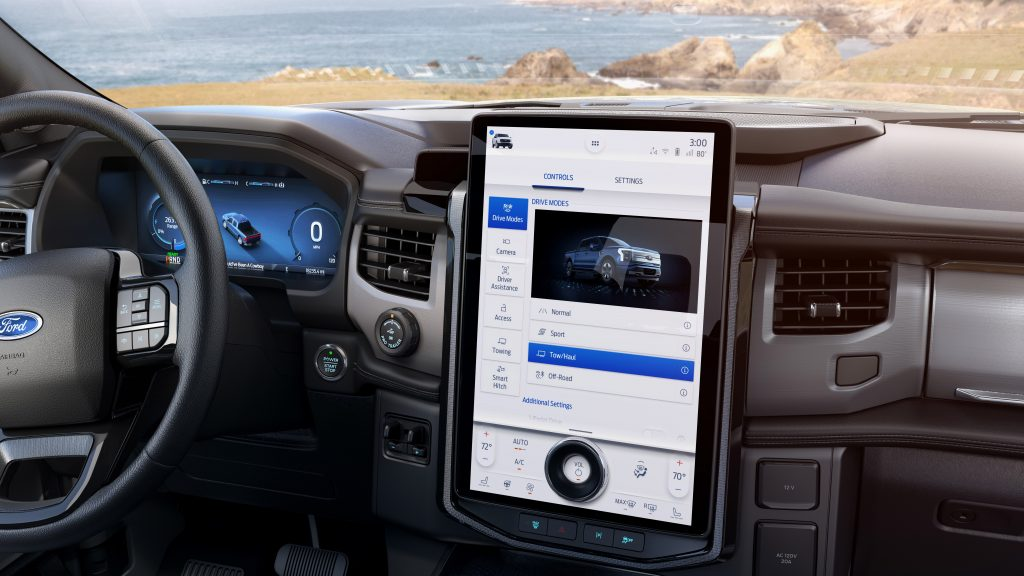 Steering wheel, dashboard, and touchscreen in 2022 Ford F-150 Lightning
