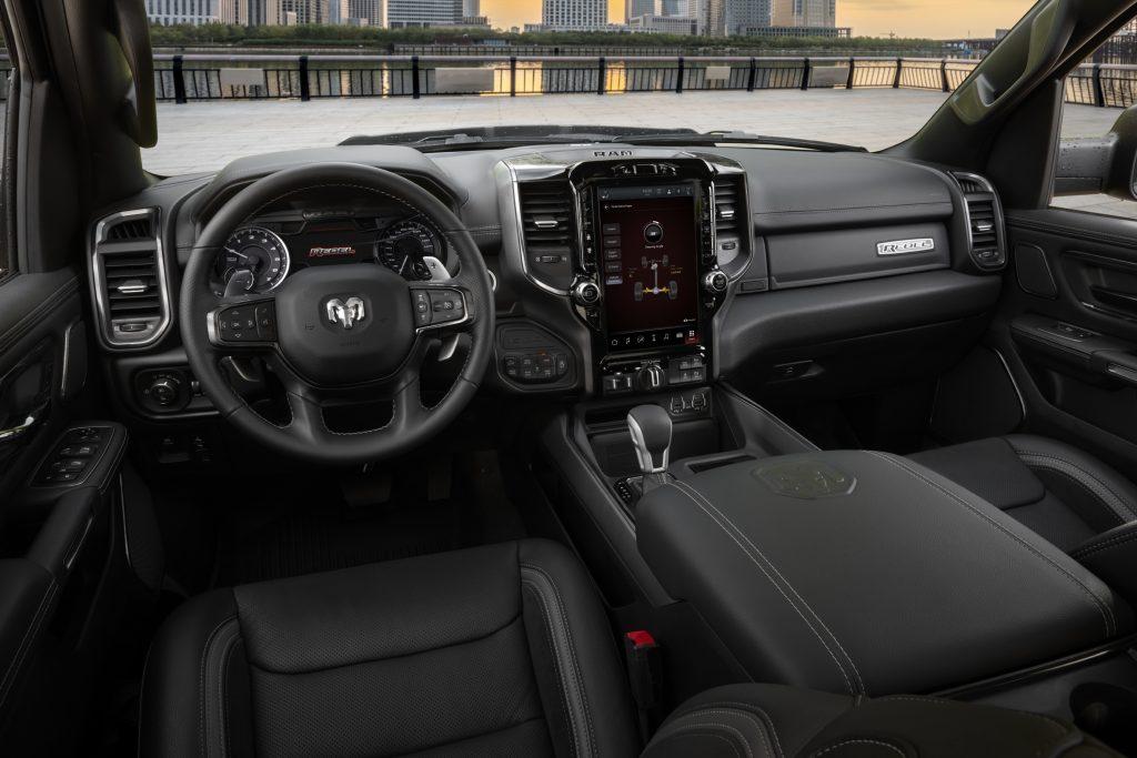 Steering wheel, gauges, and touchscreen in 2022 Ram 1500