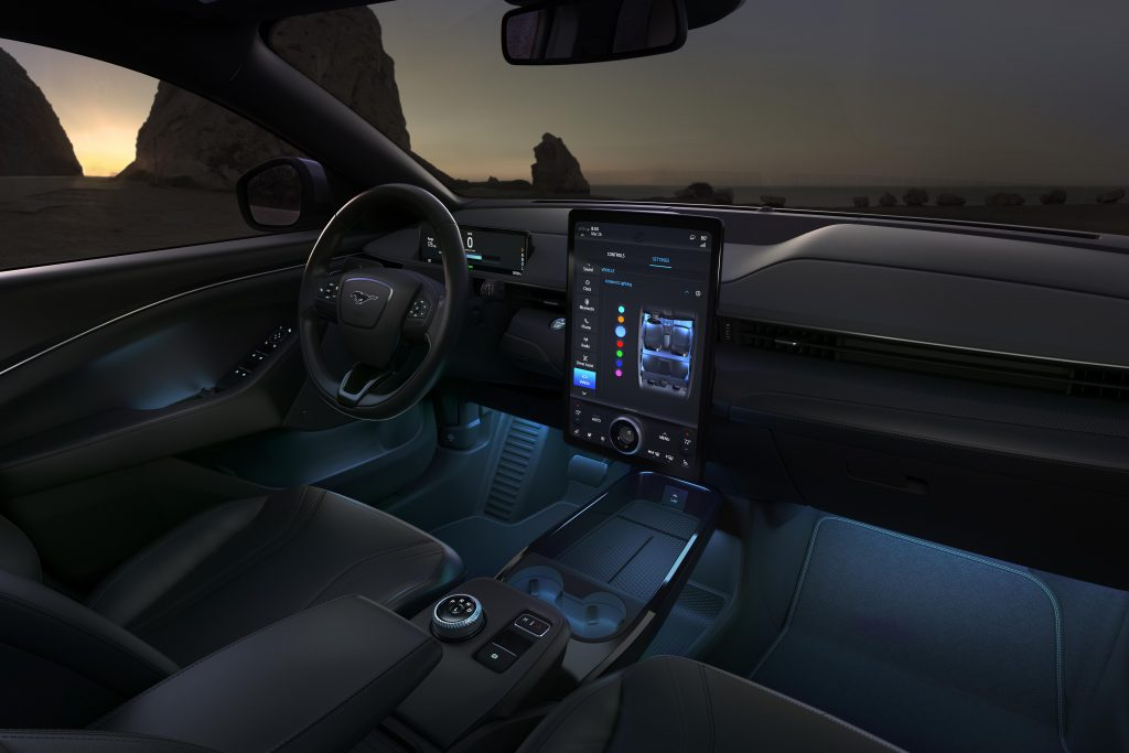 Steering wheel, touchscreen, and electric parking brake in 2021 Ford Mustang Mach-E