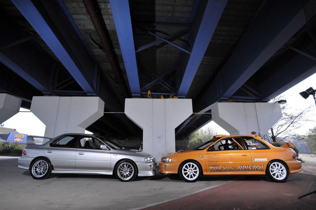 Two Subaru Impreza sedans customised by Tiley Motors of Bristol, England, taken on March 19, 2009