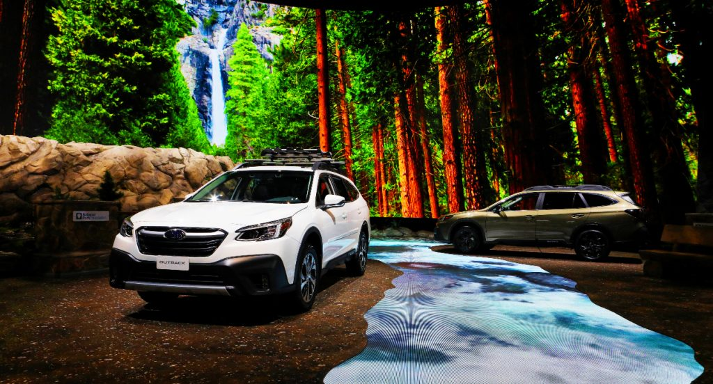 2020 Subaru Outback XT vehicles are on display at the 112th Annual Chicago Auto Show at McCormick Place in Chicago, Illinois on February 6, 2020.