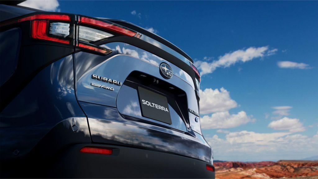 A teaser image of the 2023 Subaru Solterra EV taken in a desert location