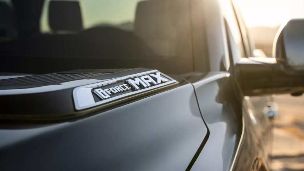 This is a promo photo of a gray 2022 Toyota Tundra hybrid branded the i-Force MAX