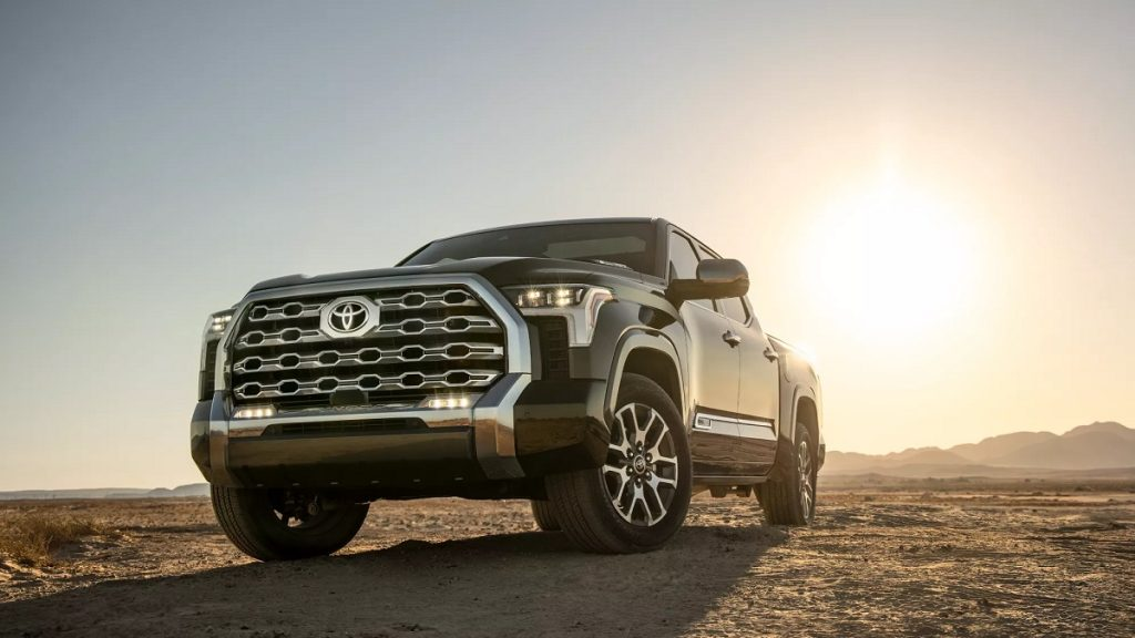 A black 2022 Toyota Tundra parked in a desert.