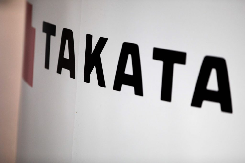 Takata Airbag logo, which was the cause of the fatal car accident