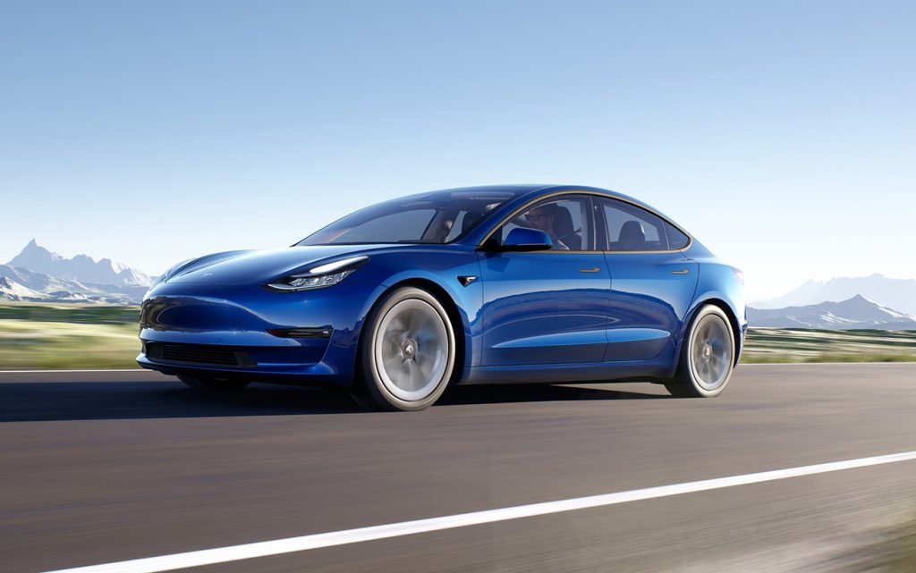 a blue Tesla Model 3 electric car similar to the vehicle from the Tesla Model 3 crash report in Florida