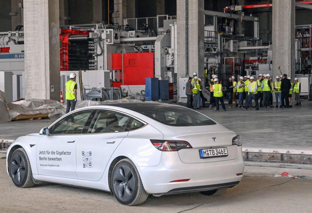 A Tesla Model 3 parked outside a Tesla Gigafactory in Brandenburg near Berlin