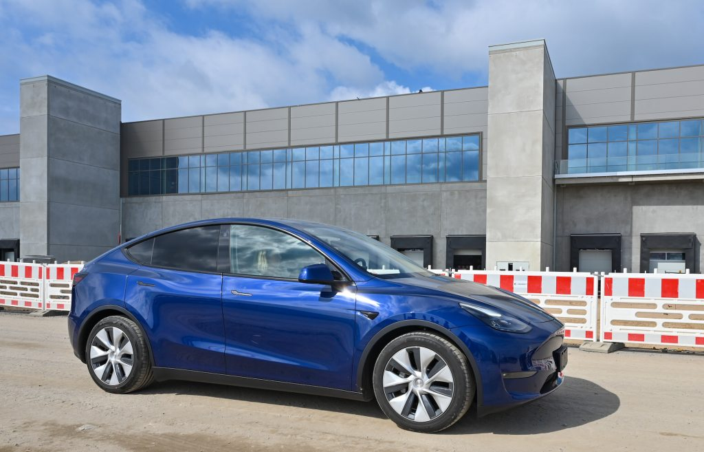 A Tesla Model Y parked at the construction site of the Tesla Gigafactory near Berlin, Germany