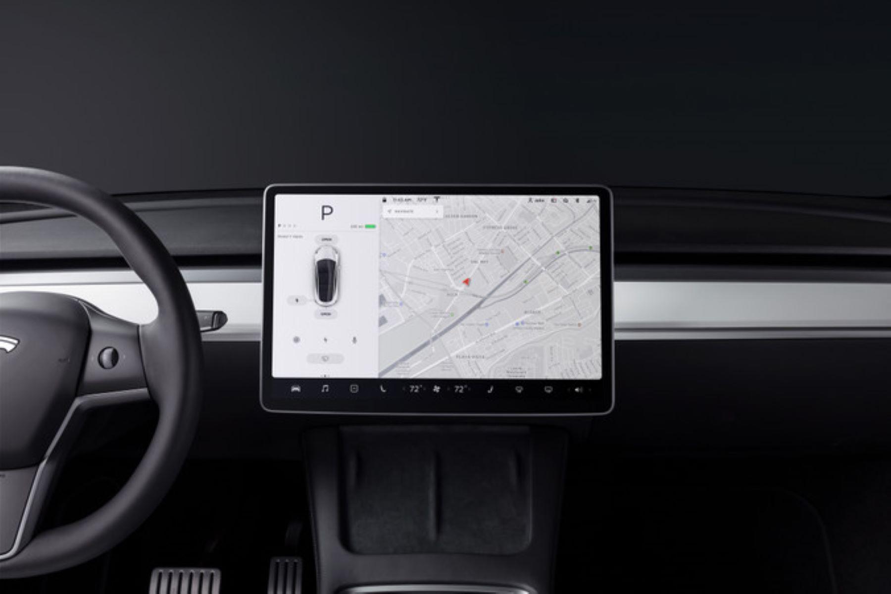 A Tesla Model Y interior touchscreen camera view