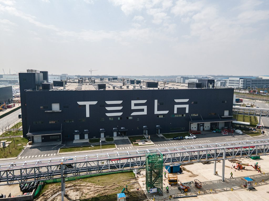 An aerial view of Tesla Shanghai Gigafactory on March 29, 2021 in Shanghai, China. Tesla Shanghai Gigafactory is reportedly producing vehicles at a rate of about 450,000 cars per year despite the global chip shortage.