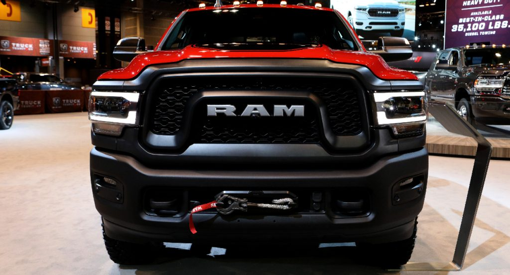 A red Ram 2500 Power Wagon is on display.