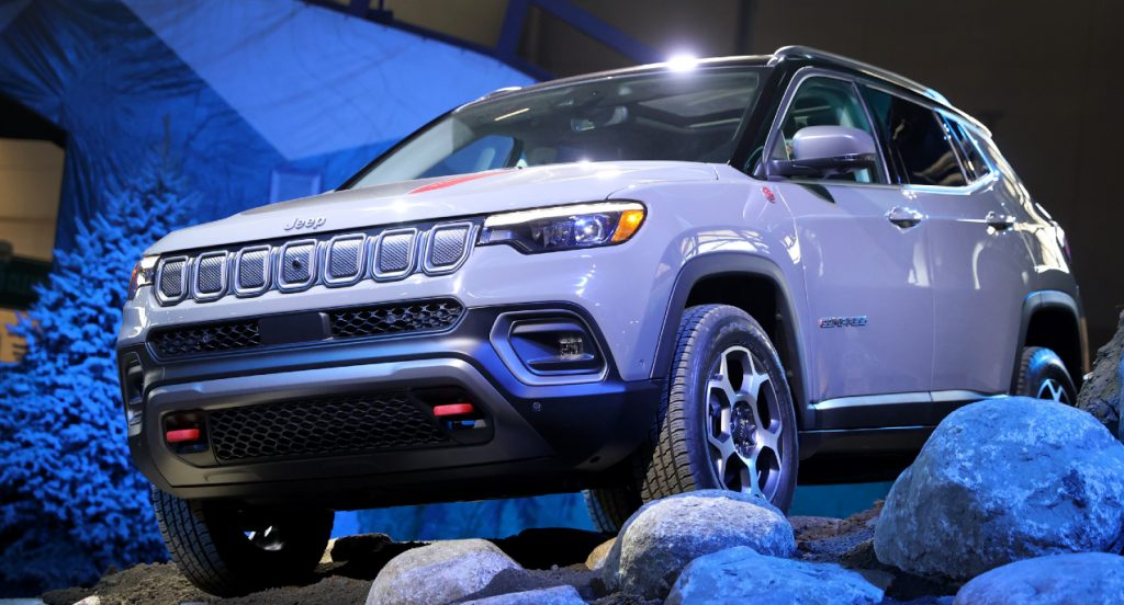 A new gray Jeep Compass Trailhawk package is introduced to the media at the Chicago Auto Show on July 14, 2021 in Chicago, Illinois. The show, which opens to the public tomorrow, is the first major auto show to be held in the United States since the start of the pandemic.